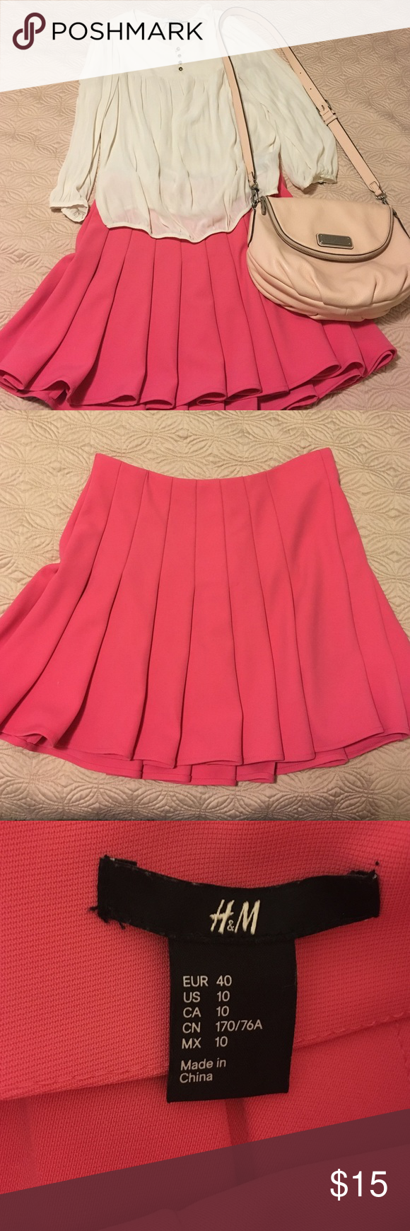 H&m pink pleated dress  HuM Pink pleated mini skirt  Bright pink Mini skirts and Times