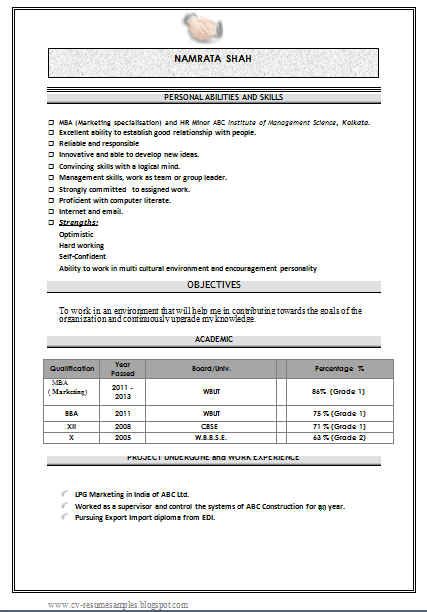 mba marketing fresher resume sample doc 1 - Resume Sample Doc