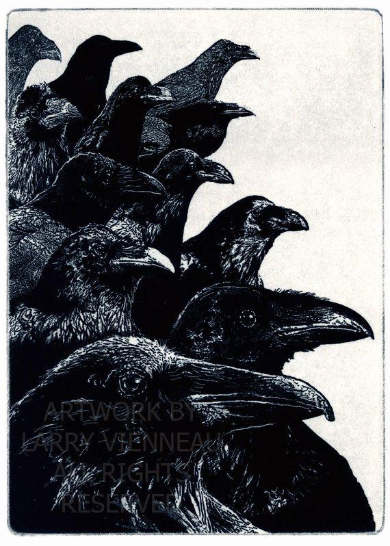 Raven ( raven, crow bird) series- The Jury -  Aquatint etching Blue Black Ink. 5 x 7 inch 2012