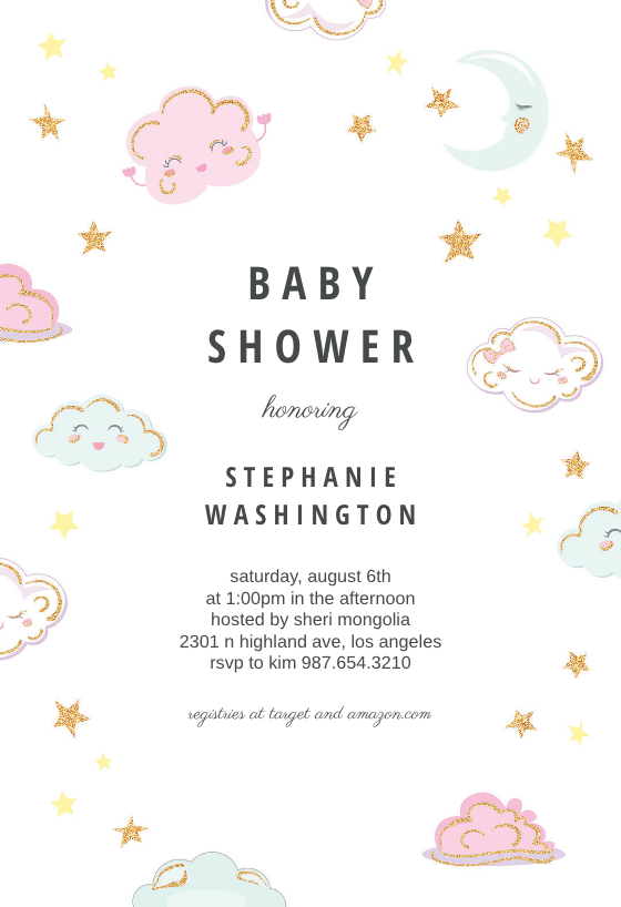 Sparkly Clouds Baby Shower Invitation Template Free Greetings Island Free Baby Shower Invitations Printable Baby Shower Invitations Moon Baby Shower Invitation