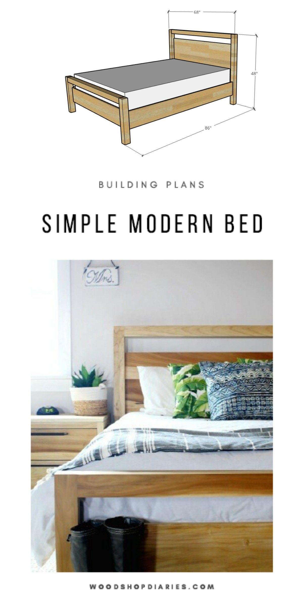 Diy Modern Bed Frame In 2020 Diy Modern Bed Simple Bed Frame