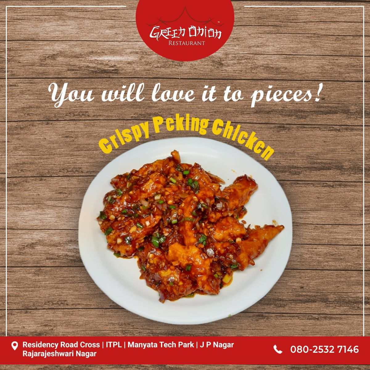 Get The Authentic Taste Of Chinese Flavours In Crispy Pecking Chicken At Greenonion Visit Our Nearest Green Onion Resta Food Chicken Dishes Chinese Restaurant
