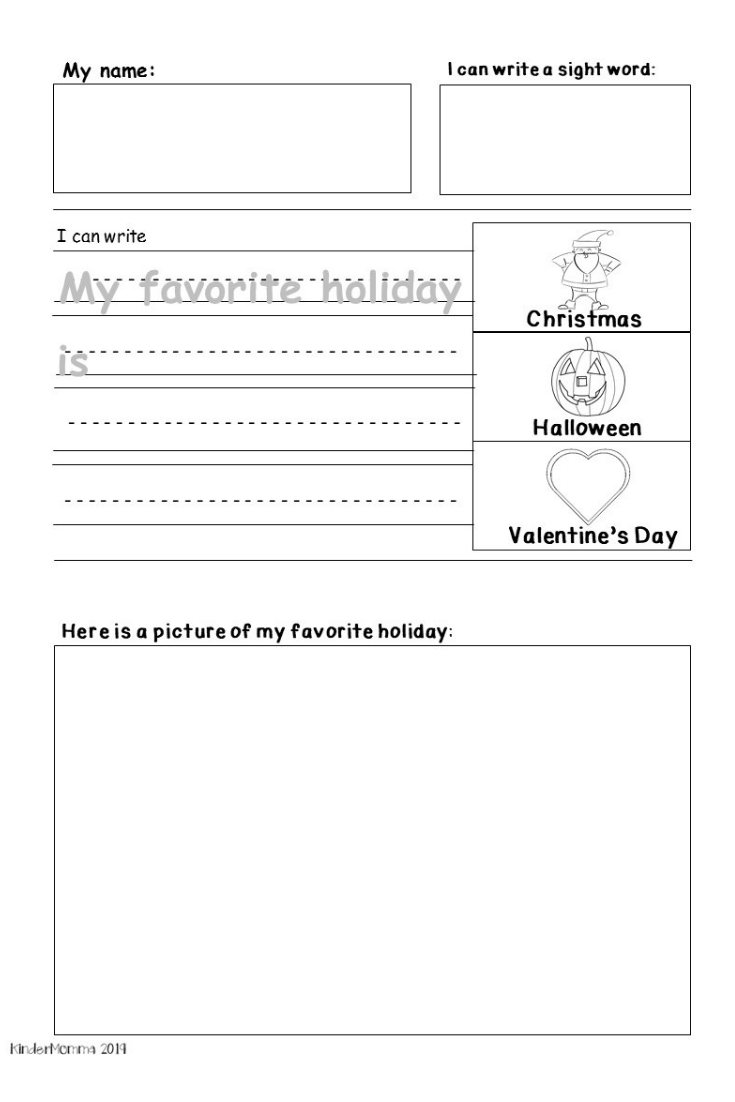 Free Holiday Writing Printable Kindermomma Com Writing Worksheets Holiday Worksheets Kindergarten Worksheets [ 1102 x 735 Pixel ]