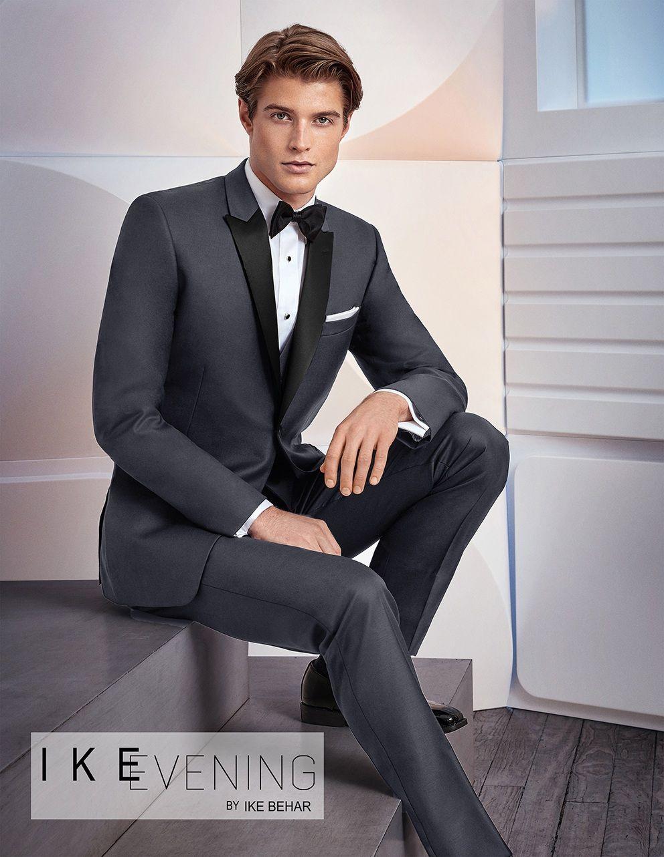 Charcoal Grey Xavier By Ike Behar | Man style, Wedding tuxedo styles ...