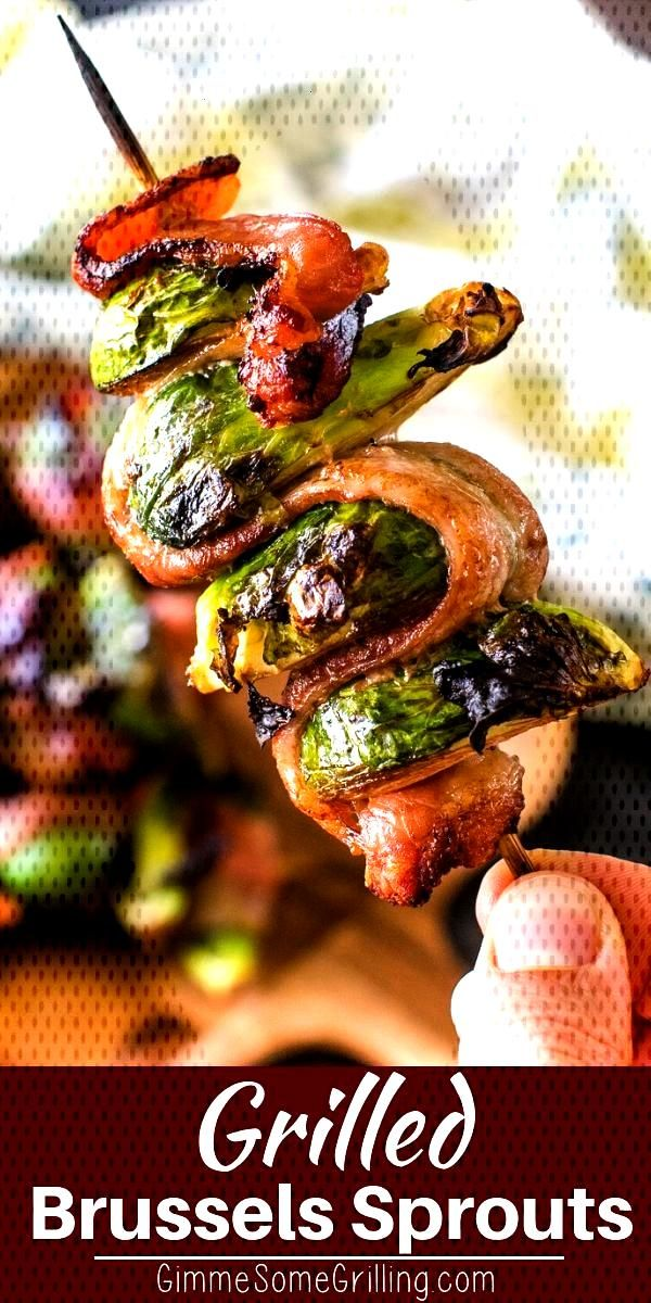 Delicious grilled Bacon Wrapped Brussel Sprouts on a skewer! Quick and easy side dish on your grill