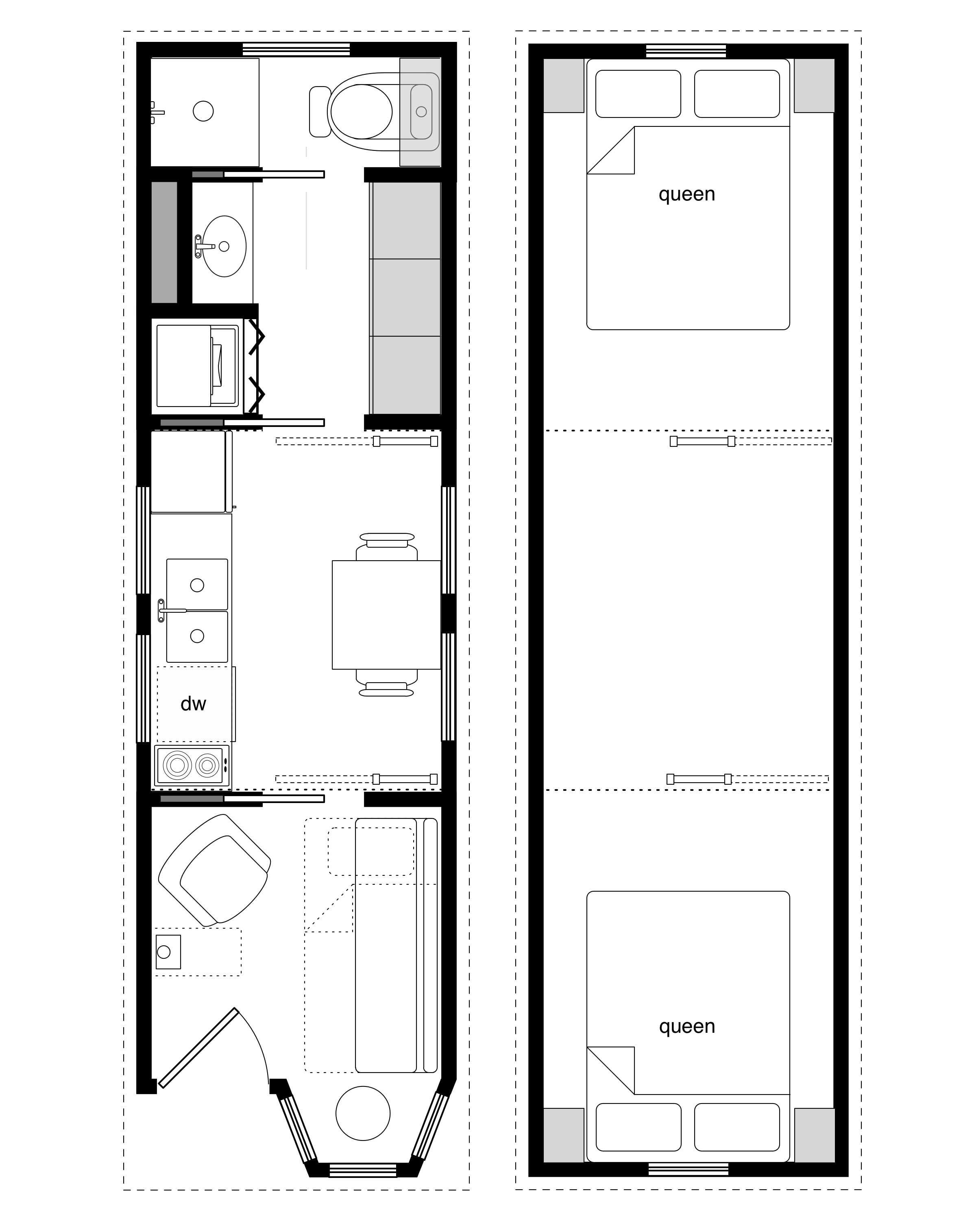 Tiny House On Wheels Two Lofts 8x28 coastal cottage 7 back 1/3 of plan and two lofts work. front