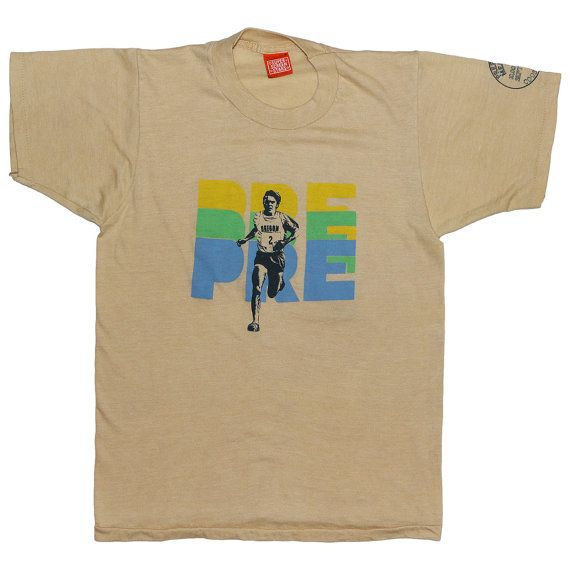 92dce2fa This is an original 1981 Steve Prefontaine Nike Shirt. 100% original vintage,  100% authentic vintage. Front and back graphics. This shirt is in
