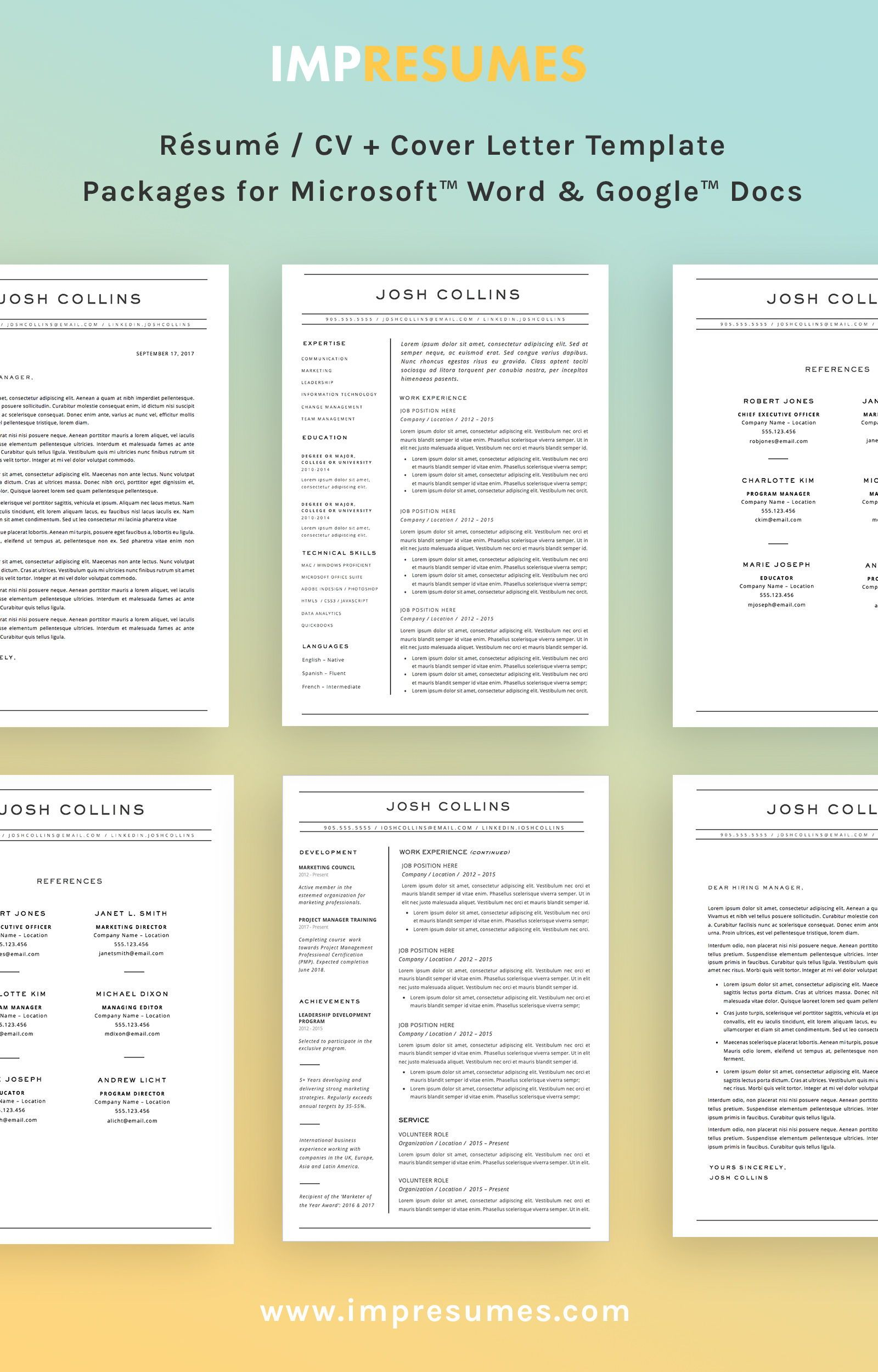 Resume + Cover Letter + References Template for MS Word