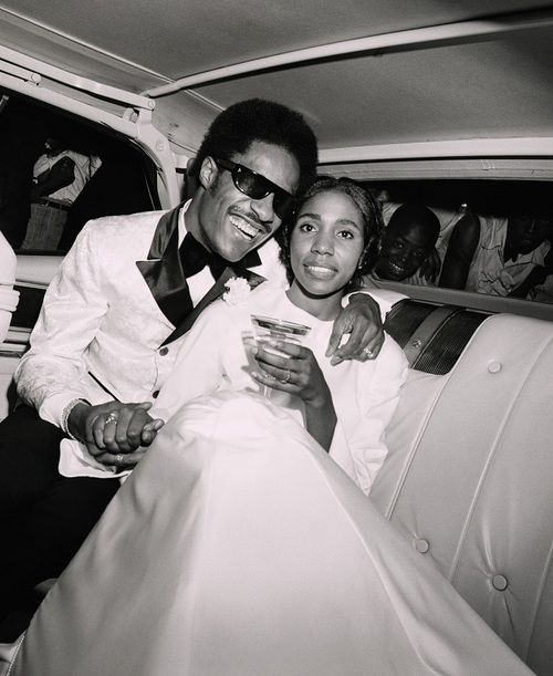 "Stevie Wonder and his first wife, the brilliant singer and songwriter Syreeta Wright (1946-2004) as they celebrate their wedding day on September 12, 1970. Ms. Wright co-wrote ""Signed, Sealed, Delivered, I'm Yours"" and ""If You Really Loved Me"" with Mr. Wonder and recorded ""With You, I'm Born Again"" with Billy Preston in 1979. The newlyweds are seen as they leave Bernette Baptist Church in Detroit en route to their reception. They honeymooned in Bermuda. Photo: Bettman/Corbis."