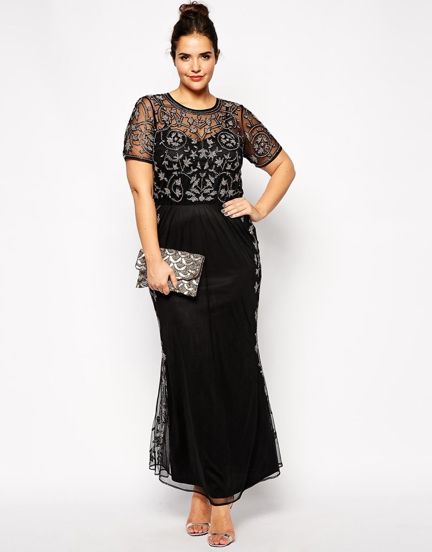 b34cf24d38b asos curve at asos RED CARPET Pretty Embellished Maxi Dress