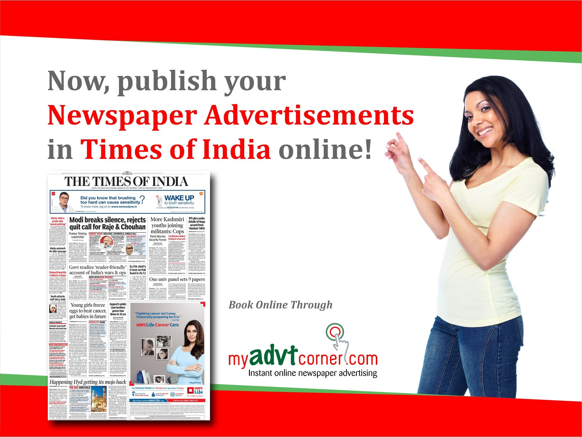 Publish bride and groom ads under matrimonial section in Times of India Newspaper Starting from Rs. 3400 for classified ads booking online or offline in Delhi NCR and other Cities of India. Book Matrimonial Advertisement Online: http://www.myadvtcorner.com/category-matrimonial