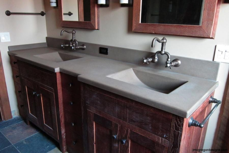 Master Vanity 2 Integrated Barrel Sinks Solid Rustic Taupe Color