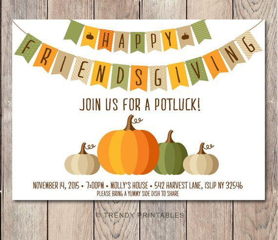 potluck invitation friendsgiving thanksgiving invitation fall