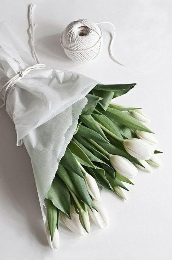 weiße tulpen schönen blumenstrauß selber machen
