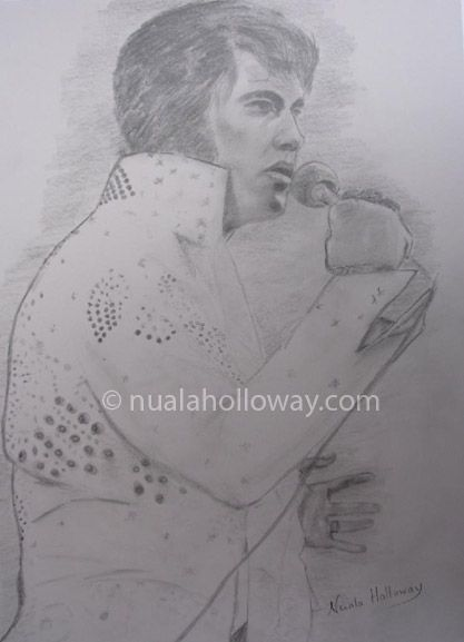 """""""Elvis '73"""" by Nuala Holloway - Pencil on Paper (Commission) As featured in the music biography """"Elvis and Ireland"""" by Ivor Casey - Available to buy now on Amazon #Elvis #ElvisandIreland #IrishArtist"""