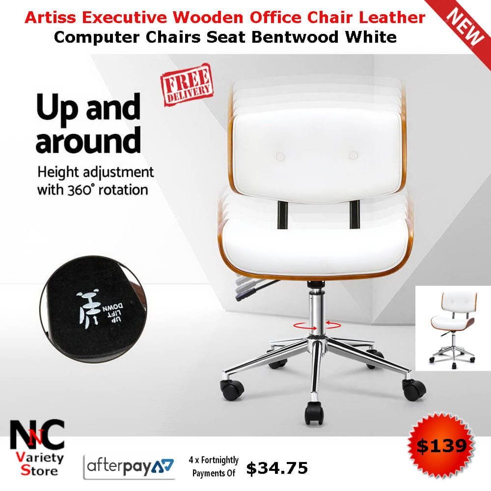 Artiss Executive Wooden Office Chair Leather Computer Chairs Seat