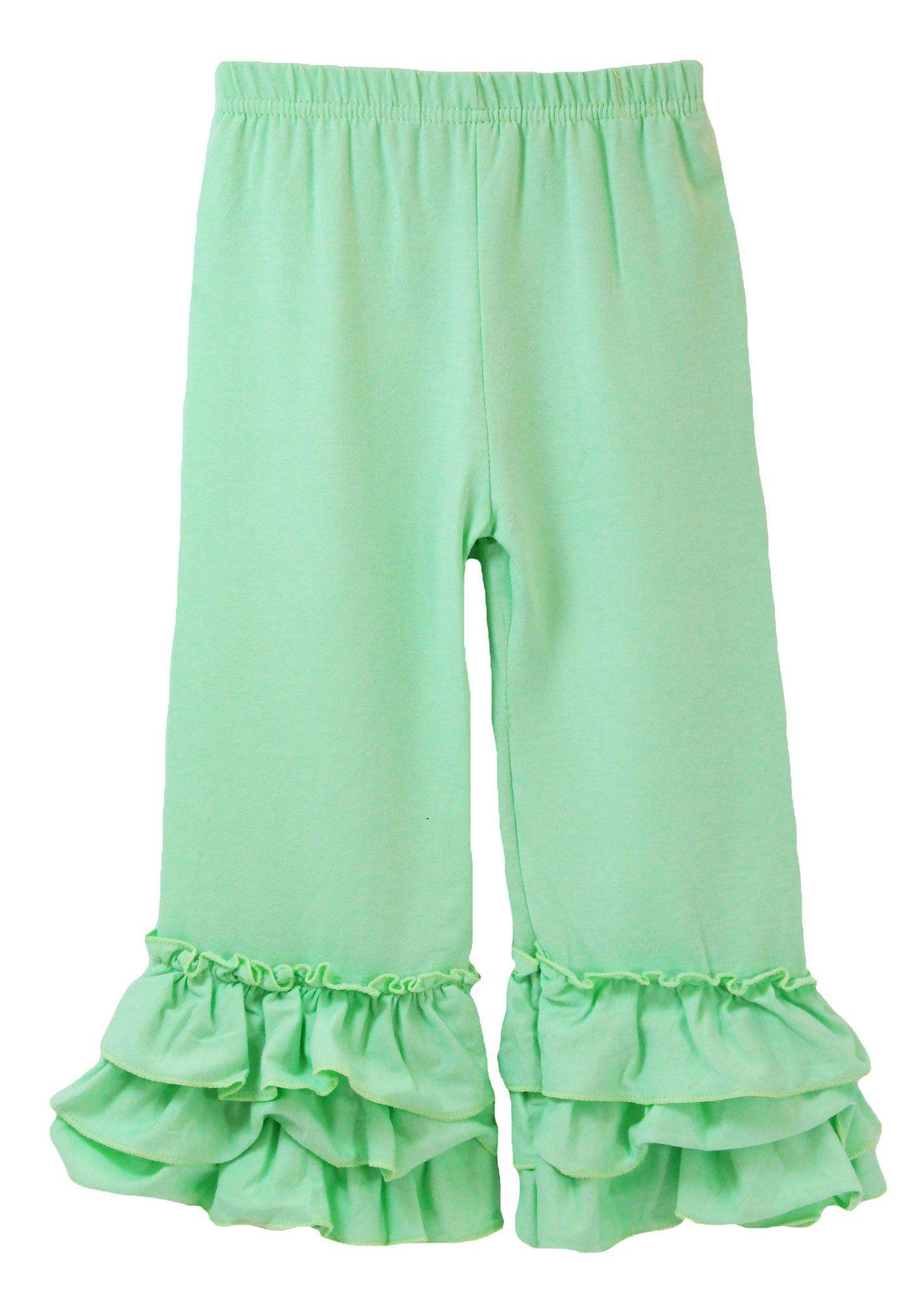 Little Girls Waterfall Ruffle Cuff Pants - Mint 2-3T
