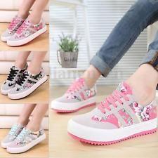 Femme Sneakers Course Floral Basket Sport Chaussures Plat Toile Lacet Sabots dba3b981f048