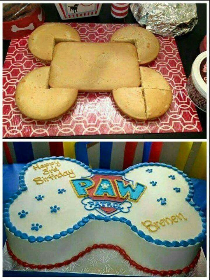 EASY PAW PATROL CAKEthis Is Such A Great Idea Using 3 Round Cakes With 9x13 Cake Via One Little Project