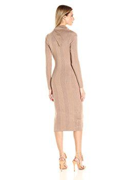 Guess Women's Long Sleeve Zeze Funnel Neck Sweater Dress, Almondine, S R