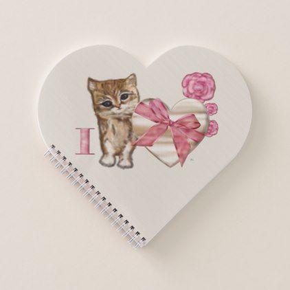 Kitty Valentine Victorian Mixed Media Notebook - cat cats kitten kitty pet love pussy