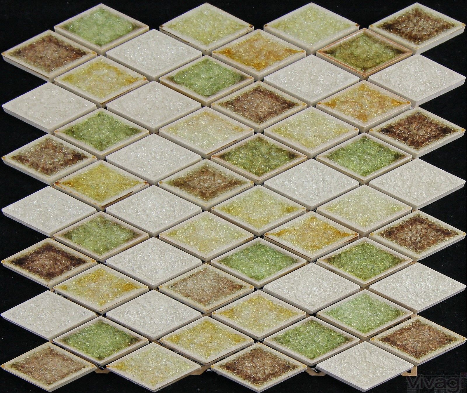 "Sample Green Brown Crackle Glass Subway Mosaic Tile: Elysium Mosaics ""Bejewelled"" Crackle Glass"