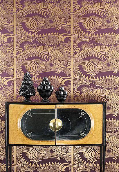 Tapete Chinese Dragon - Designtapete von Osborne and Little - retro tapete wohnzimmer