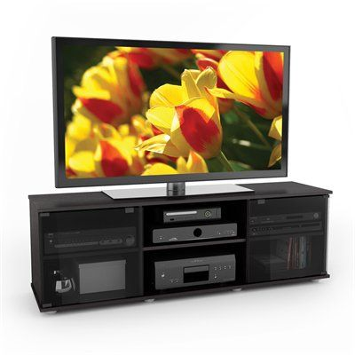 Lowes Sonax E 0062 Bf Fiji 60 Tv Component Bench 60 Inch Tvs Tv Stand With Glass Doors Cool Tv Stands
