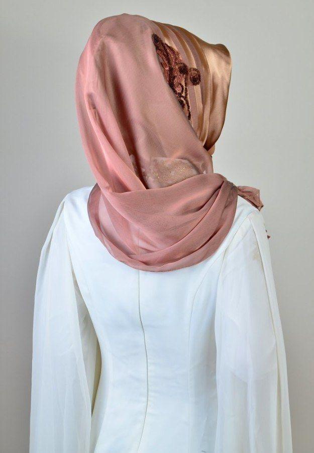 Photo of Aişe Hijab – Caramel Copper Draped Ready Scarf (1)