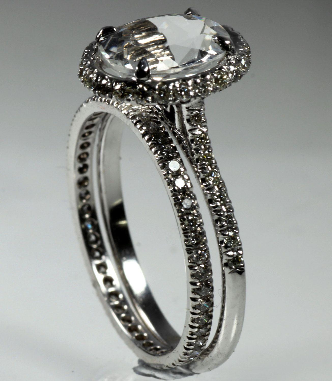Halo ring White 14k Gold Diamond ring White Topaz