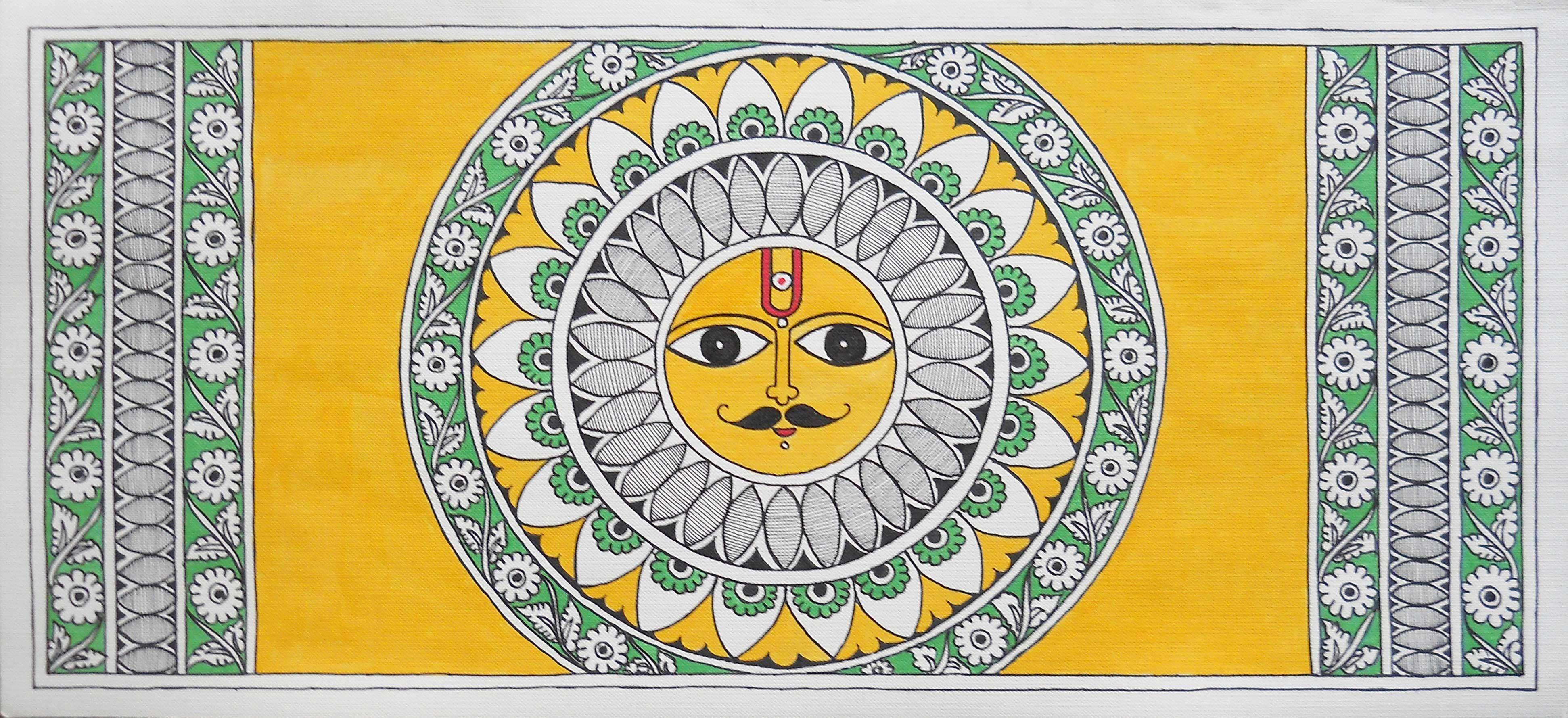Shop Madhubani Painting Sungod With Kalamkari Details By