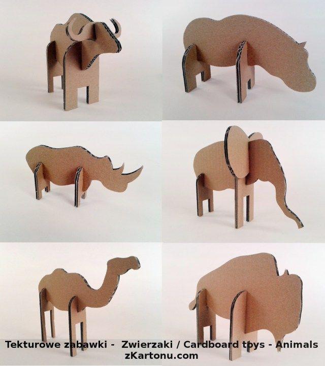 Plakat zwierzaki z kartonu, Zabawki, karton, tektura, zwierzaki, cardboard, toys, dzieci, kids; #toys #cardboard #animal #zkartonu