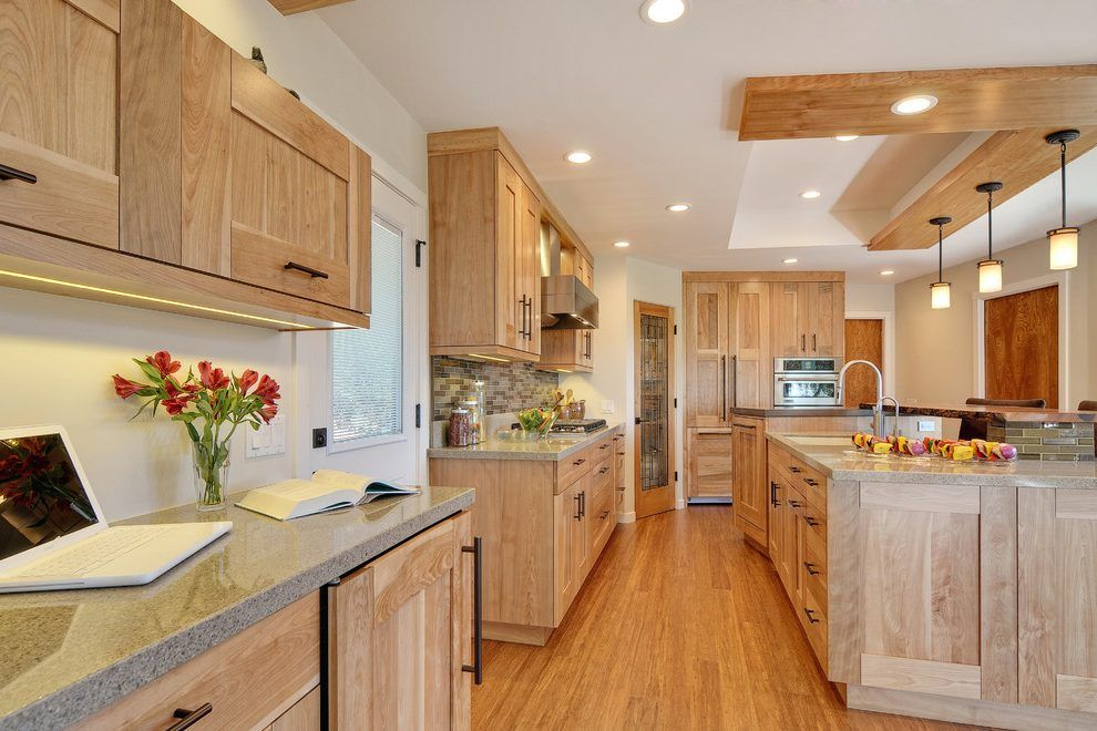 nice ceiling idea with the wood | Birch kitchen cabinets ...