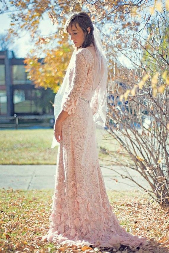 2014 Light pink Boho Wedding Dress, Bohemian Lace Wedding Dress ...