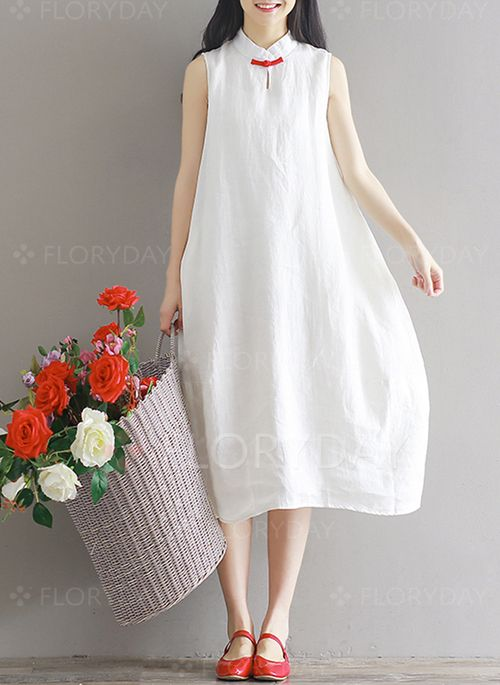 9efd30d9f5a Dresses -  43.28 - Cotton Solid Sleeveless Knee-Length Casual Dresses  (1955135094)