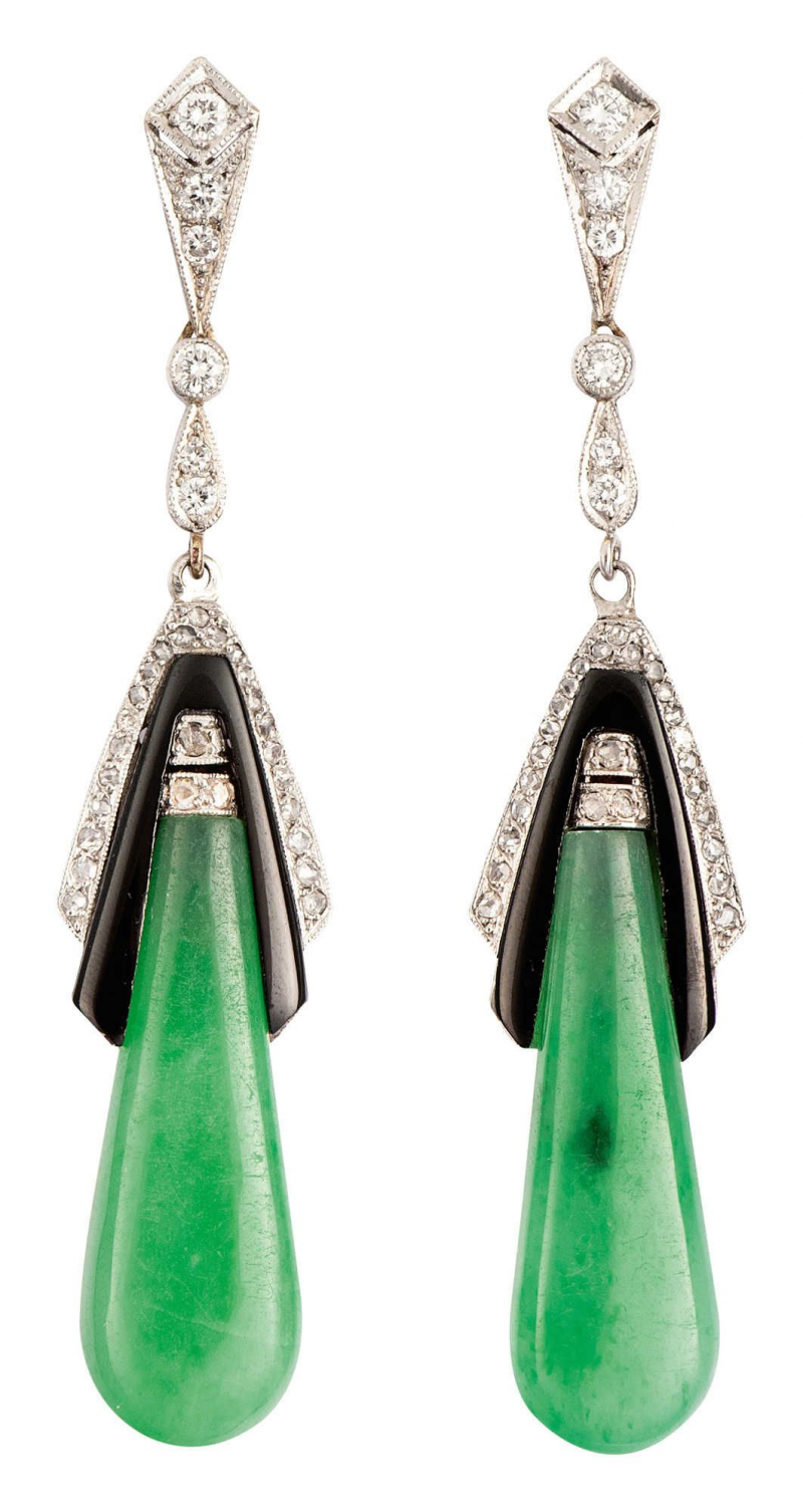 Pair of jade onyx diamond ear drops. Germany 1930s. 14k white gold, jade with onyx Each weighing more than 4 total carats and 31 diamonds total 0.65 carats