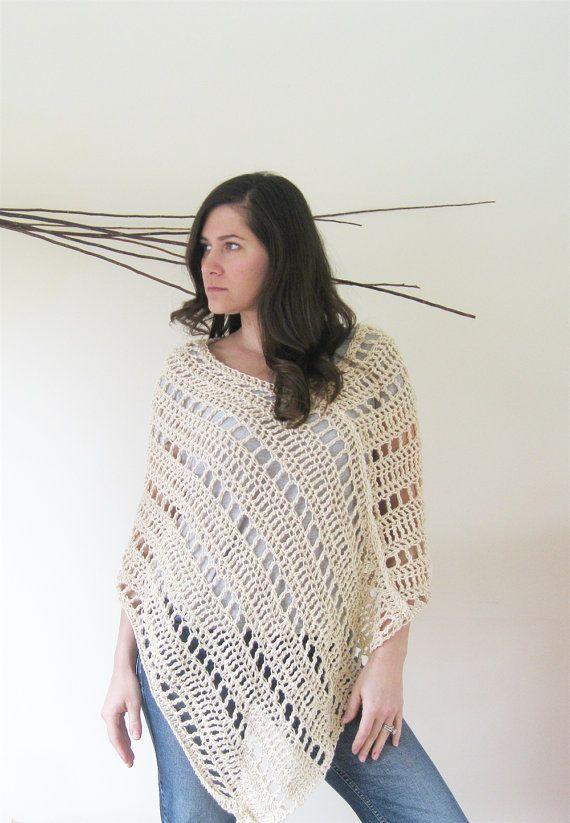 Túnica de Poncho de verano Capa de ganchillo Suéter ligero ...