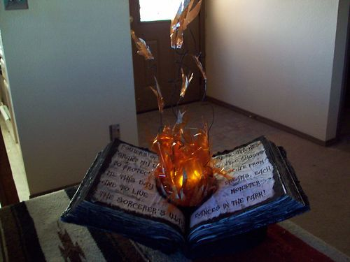 Witch Flaming Spell Book Halloween Decoration Haunted House Prop - halloween decorations haunted house