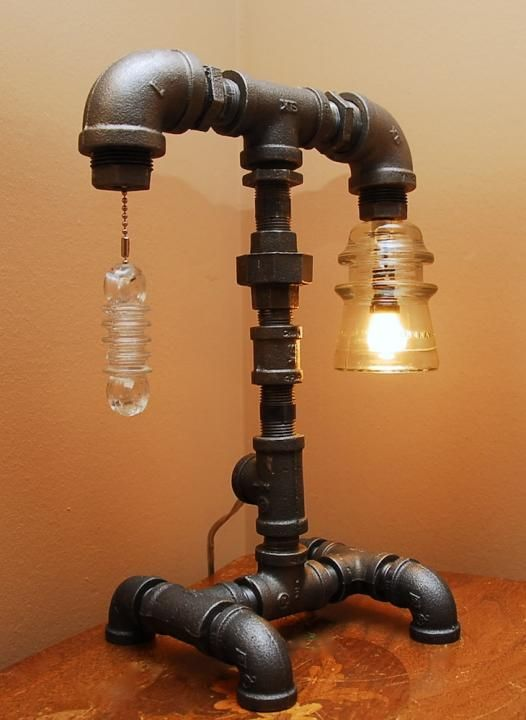 Industrial Style Pipe Lamp With Clear Glass Insulator And Spiral Glass Pull by TRoweDesigns on ezebee.com