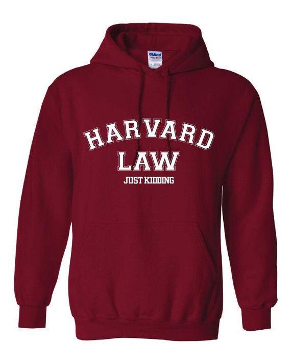 Harvard Law Just Kidding Funny Printed Grey Hoodie Unisex Youth Sizes Fantastic Funny Hoodie Harvard Law School on Etsy, $22.95