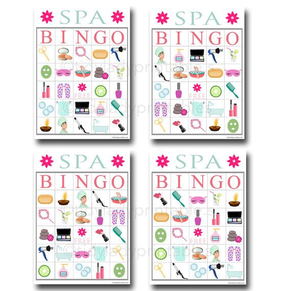 Spa Bingo Printable Game, Girls Party Game, Spa Party
