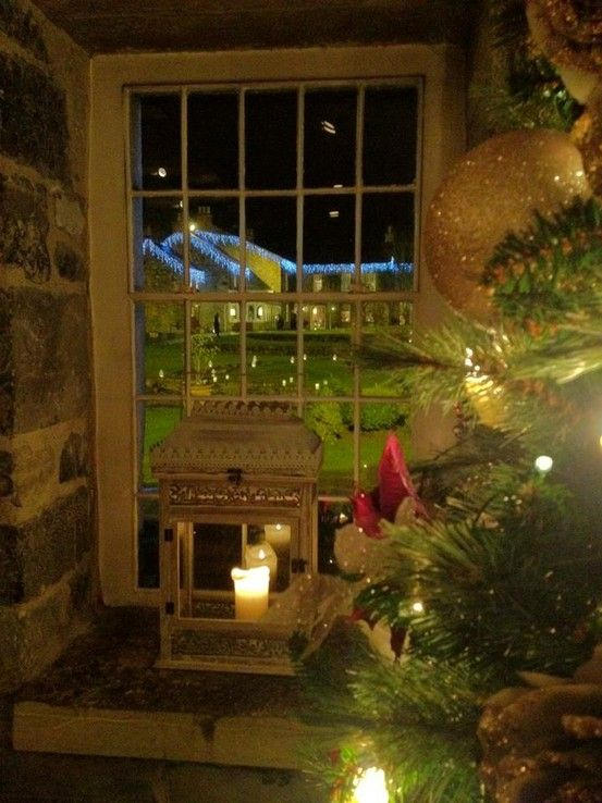 Candles in the Window with Christmas Tree christmas Pinterest