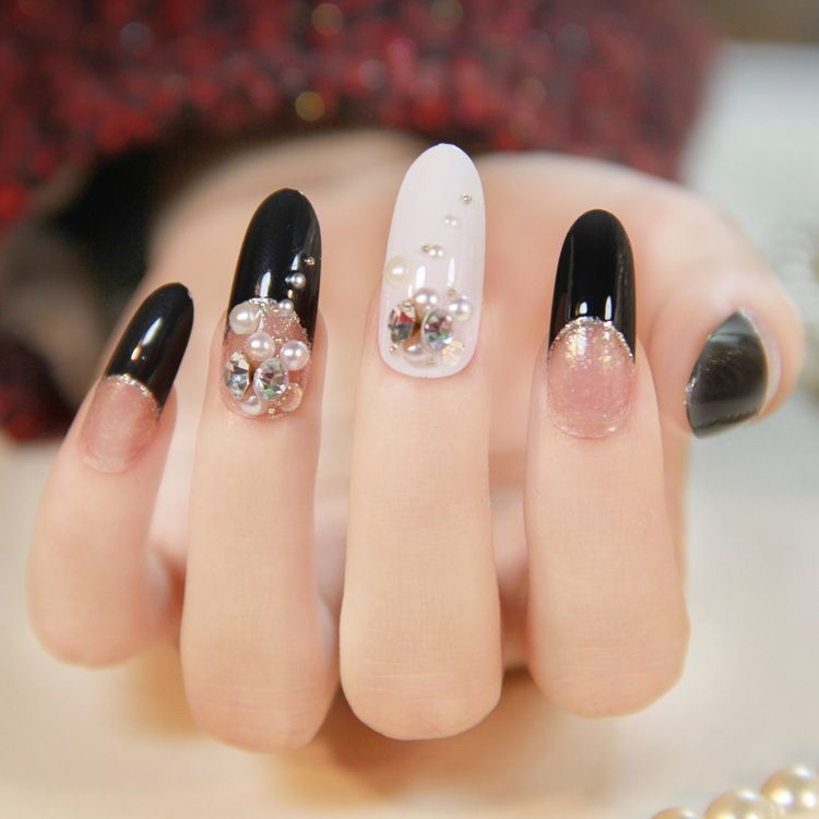 New 2013 japanese 3d nails black french manicure oval form long new 2013 japanese 3d nails black french manicure oval form long design salon fake nail free prinsesfo Image collections
