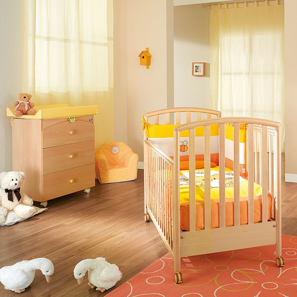 Wooden Baby Cot And Chest Of Drawers Set Naturale By Pali