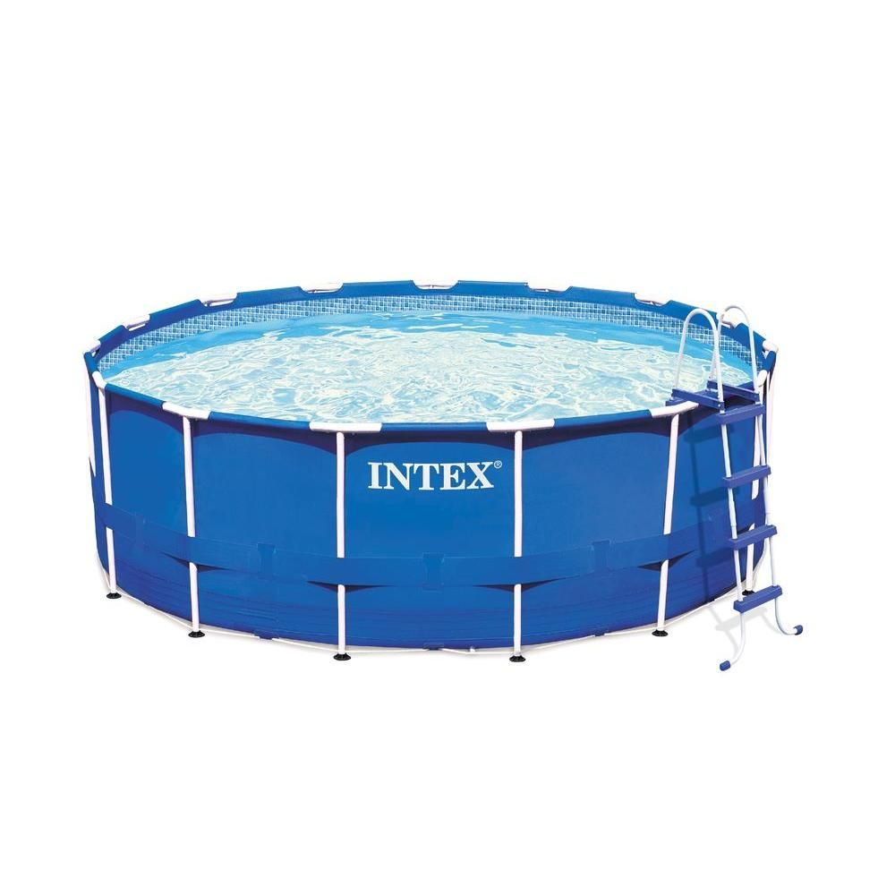 Intex 15 Ft Wide X 48 In Deep Round Metal Frame Pool Set 28235eh The Home Depot Portable Swimming Pools Intex Best Above Ground Pool