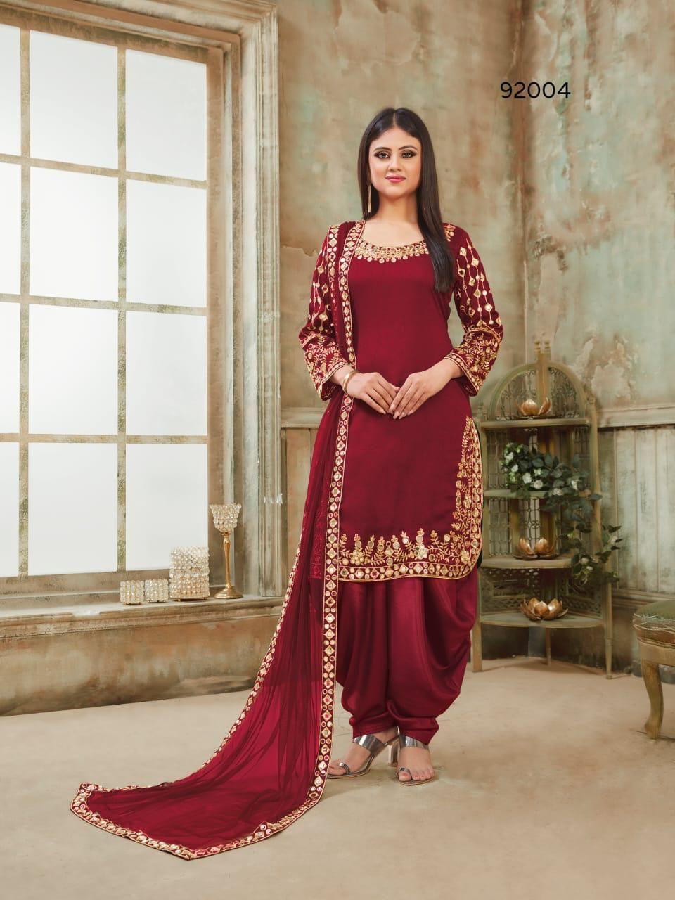 Twisha Aanaya 92004 Wine Color Art Silk Fabric Patiyala Style Punjabi Salwar Suit Wholesaler Stitching Dresses Indian Women Fashion Patiala Suit