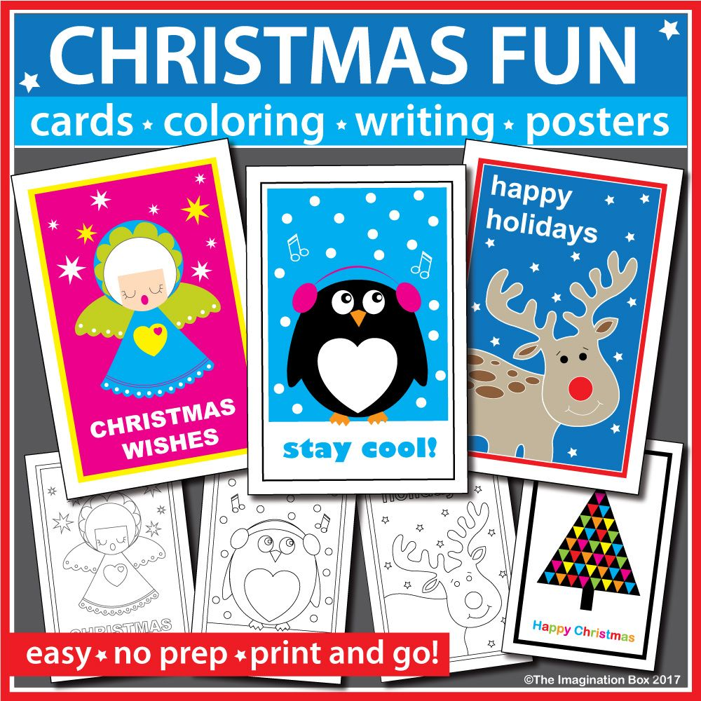 Christmas coloring pages - cards and writing activities | Printable ...