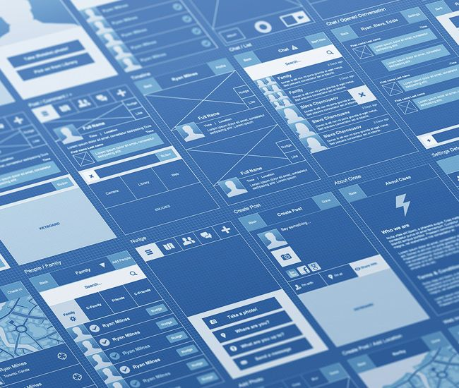 Blueprint Style Wireframe UI, UX Pinterest Wireframe, Ui ux - copy blueprint network design