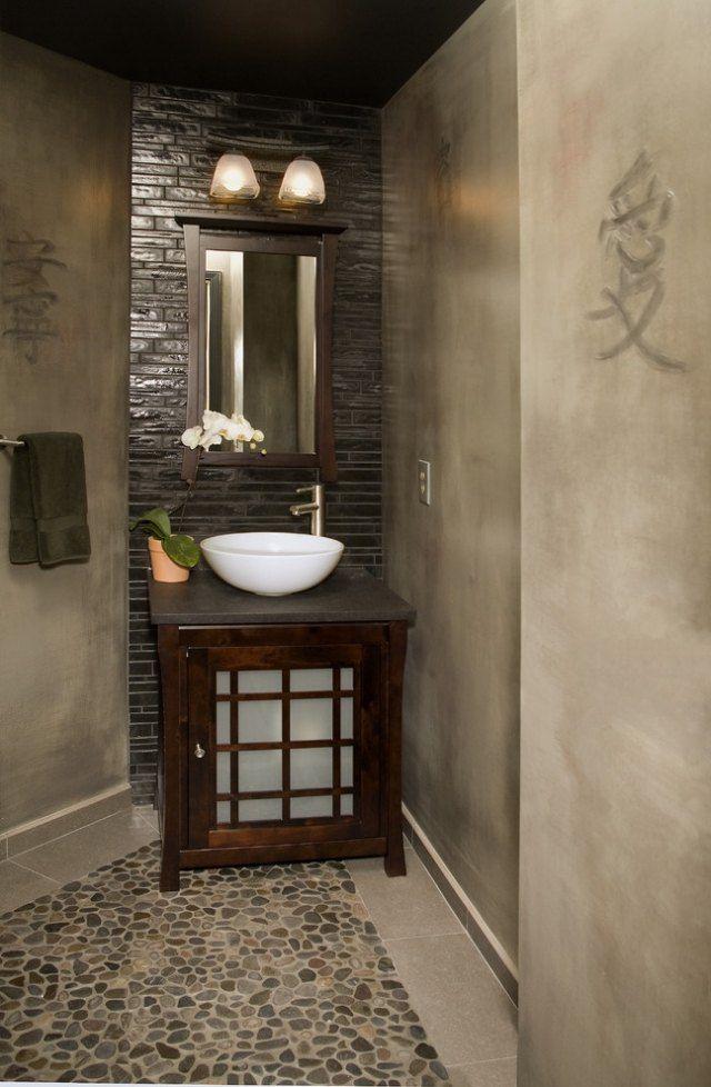 Verputzte w nde im asiatischen bad ideen f r kreative for Raumgestaltung badezimmer