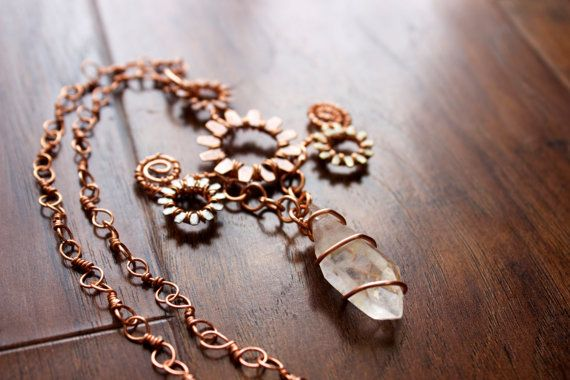 Steampunk Pendant Necklace with Crystal Quartz by TerraArcana
